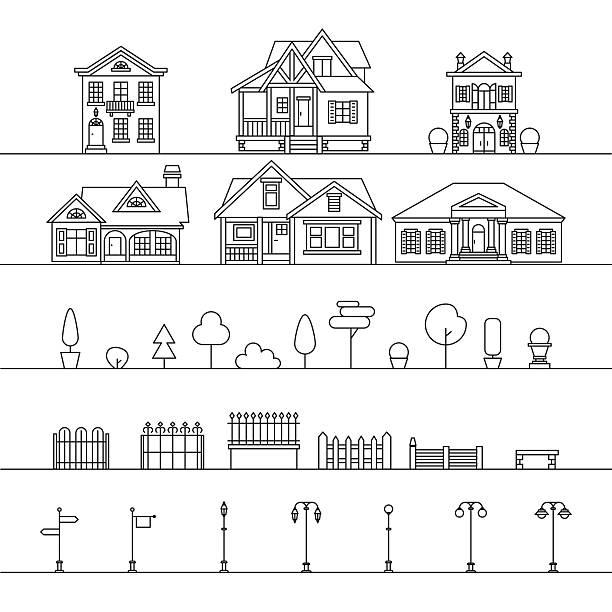 street elements - villas stock-grafiken, -clipart, -cartoons und -symbole