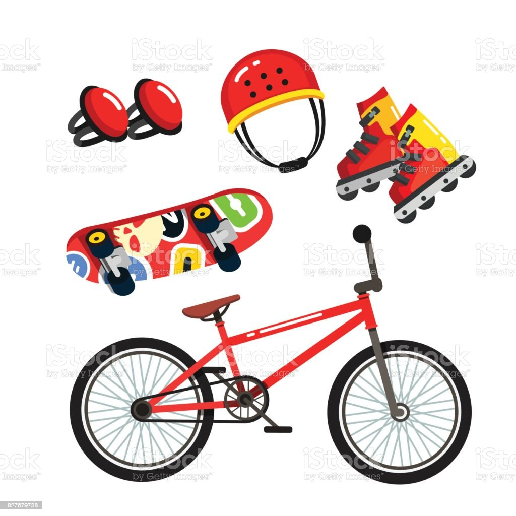 Street extreme sports gear set, bike, skates vector art illustration