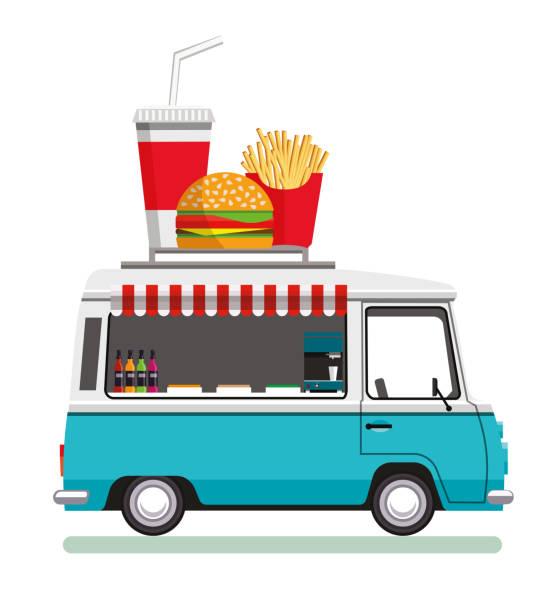 straße fast-food-automobil - imbisswagen stock-grafiken, -clipart, -cartoons und -symbole