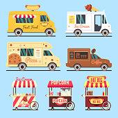 Street fast food delivery trucks flat set