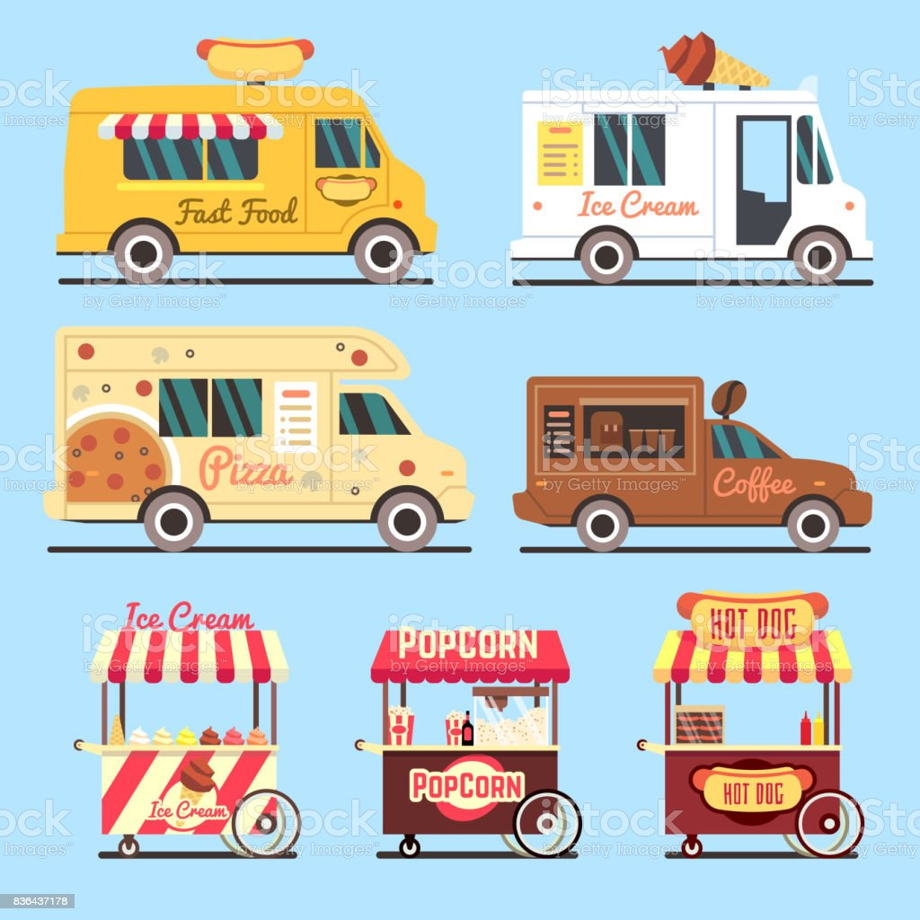 Street fast food delivery trucks flat set vector art illustration