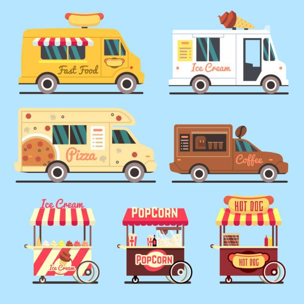 straße fast-food-lieferwagen flach legen - imbisswagen stock-grafiken, -clipart, -cartoons und -symbole