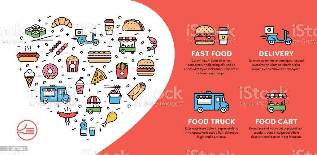 Street Fast Food Icon Banner - Grafika wektorowa royalty-free (Burger)