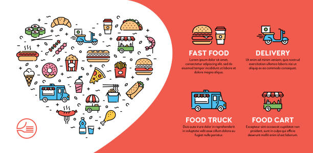 street fast food icon banner - food delivery stock illustrations