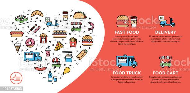 Street Fast Food Icon Banner - Stockowe grafiki wektorowe i więcej obrazów Burger