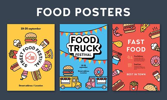 Street Fast Food Poster Set