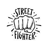 Street fighter t-shirt design. Vector illustration.