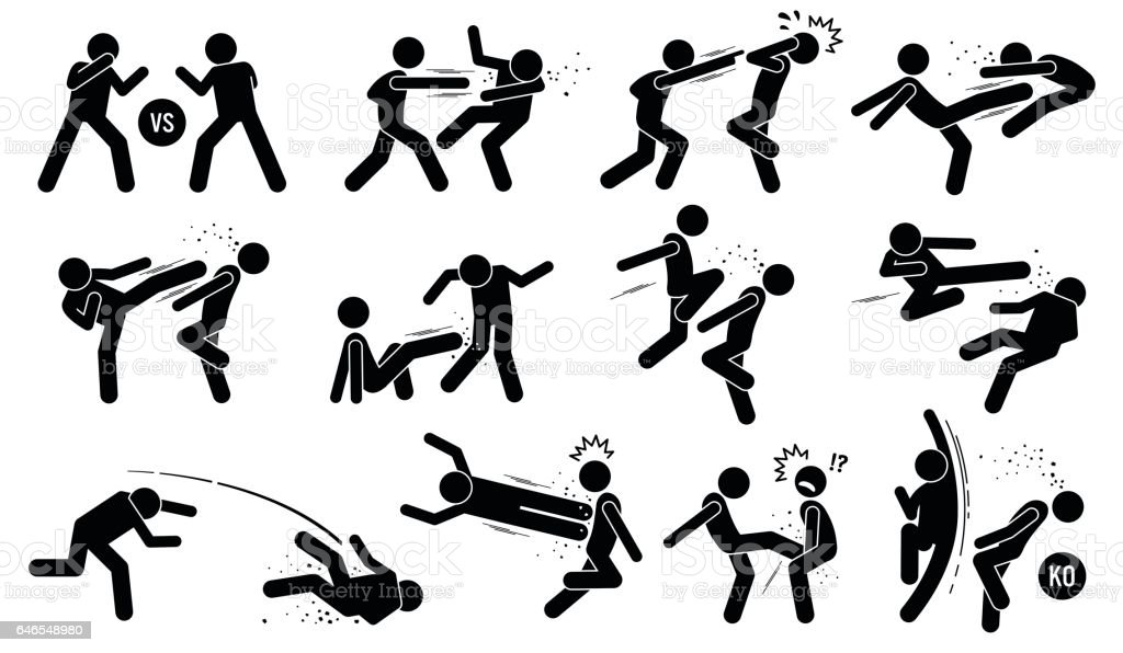 Street fighting attacking stance vector art illustration