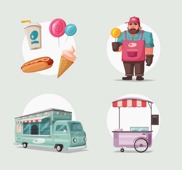 Street food and beverages funny hawker. Cartoon vector illustration. Seller or chef character vector art illustration