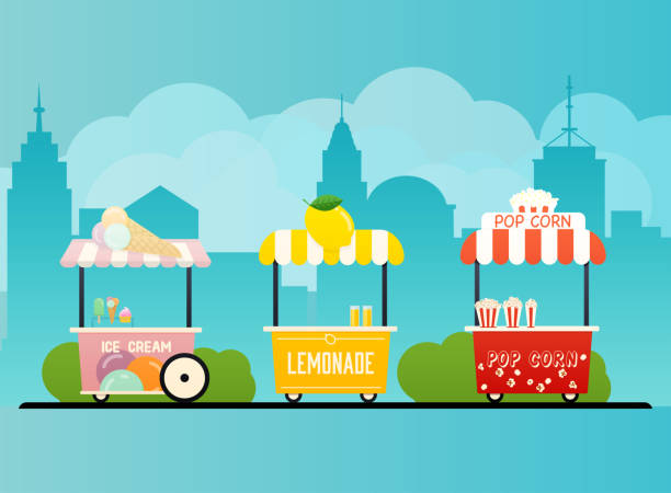 Street food cart. Urban landscape. Flat design modern vector illustration concept. Street food cart. Urban landscape. Flat design modern vector illustration concept. lemonade stand stock illustrations