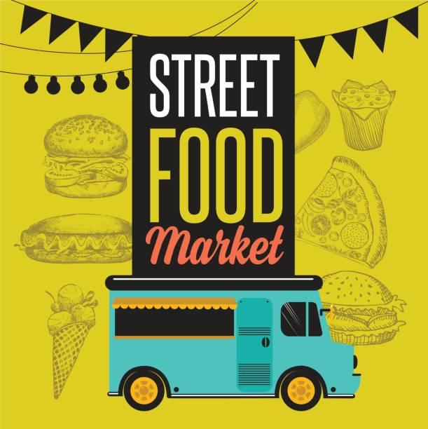 Street food festival banner. vector art illustration