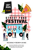 Street food festival poster, banner design template. Spring and summer weekend and events outdoor leisure. Vector flat cartoon illustration. Food truck and people eat on red checkered plaid background