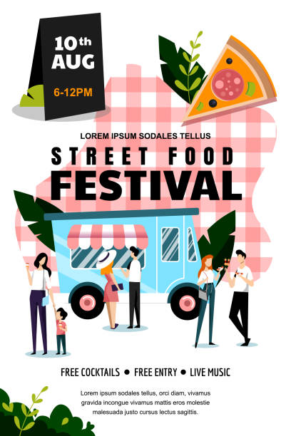 street food festival poster or banner design template. summer weekend and events outdoor leisure. vector illustration. - tradycyjny festiwal stock illustrations