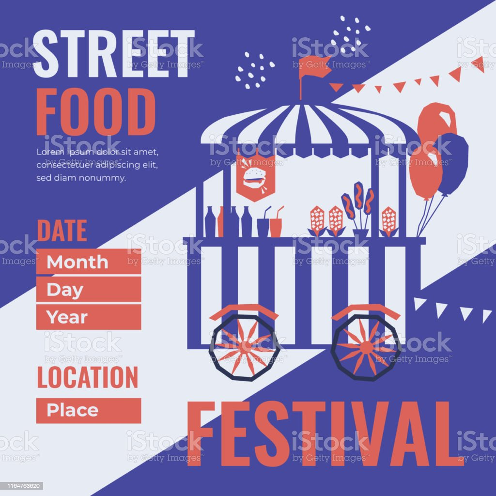 Event poster of street food festival. Vector illustration of fast...