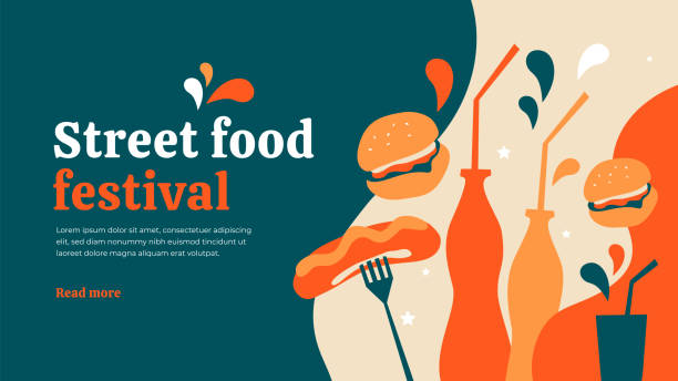 stockillustraties, clipart, cartoons en iconen met street food festival sjabloon - street style