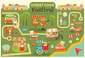Street Food Festival on City Map. Food carts on Infographic Card. Sellers and Trucks with Food. Mexican, Italian, Greek, French Cuisine. Vector Illustration.