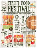 Street Food and Fast Food, Truck Festival on Vintage Retro Poster. White Wooden Background. Template Design. Vector Illustration.