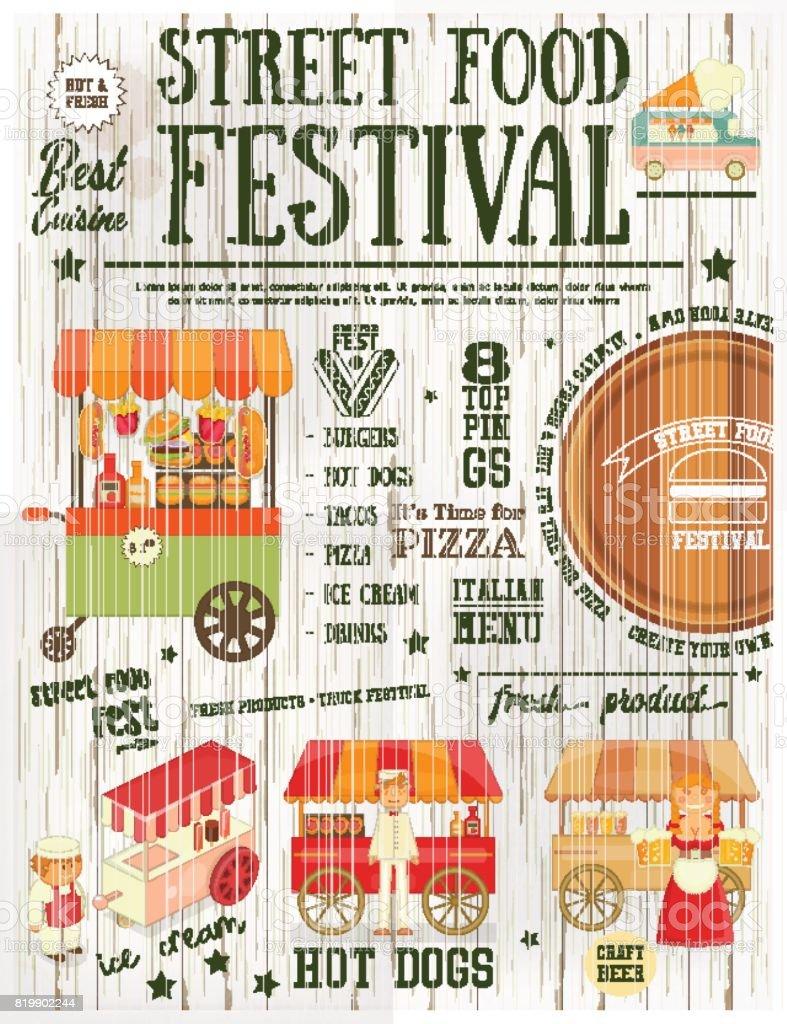 Street Food Festival vector art illustration