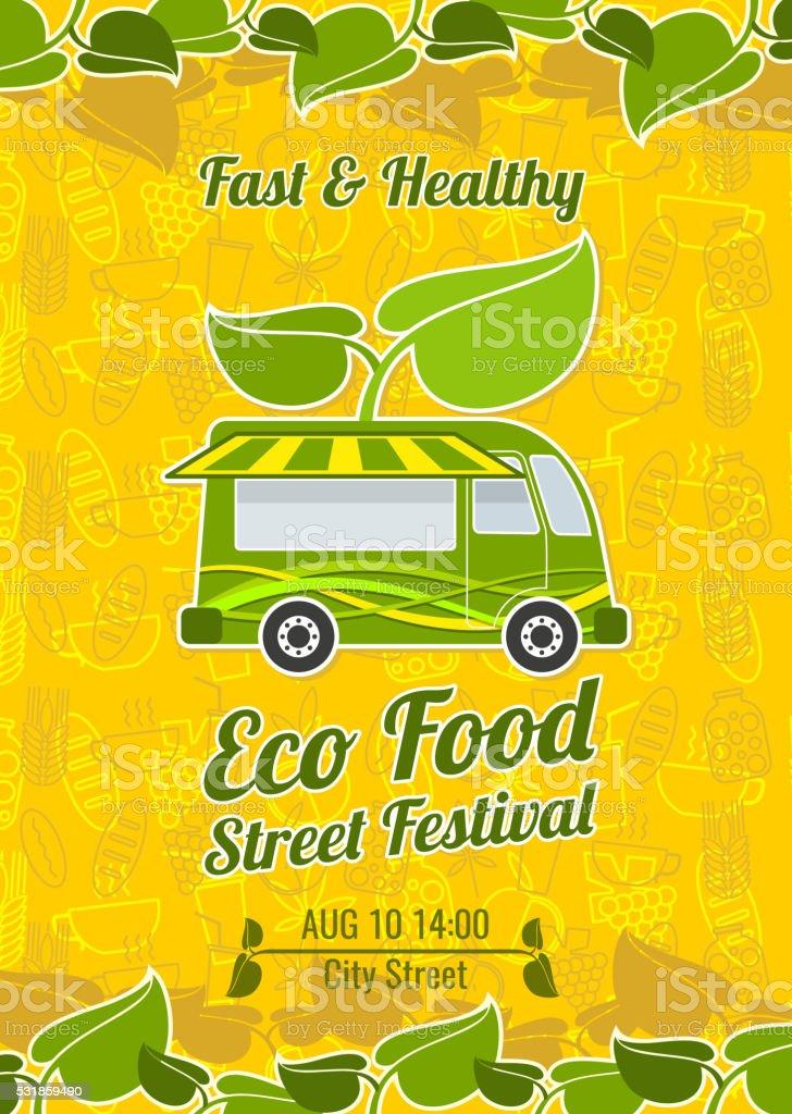 Street food festival vintage vector poster. Banner food festival and...
