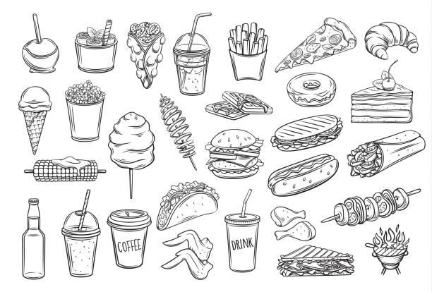 suppen-symbole - schnellkost stock-grafiken, -clipart, -cartoons und -symbole