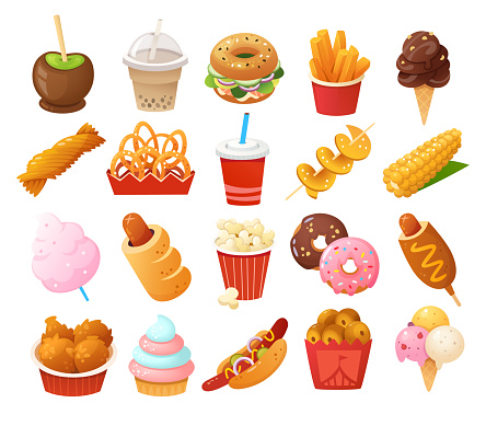 Street food images. Foods you normally find at fun fairs and outdoor festivals. Vector icons.