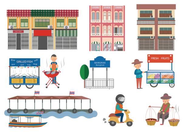 ilustraciones, imágenes clip art, dibujos animados e iconos de stock de comida callejera en elementos de bangkok - comida tailandesa