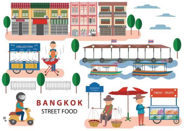illustrazioni stock, clip art, cartoni animati e icone di tendenza di street food in bangkok - banchi di pesci