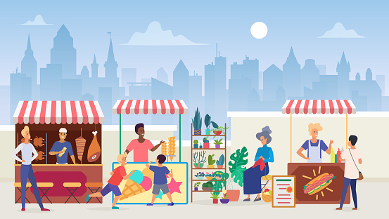 Street food market flat color vector illustration. Outdoor marketplace in megapolis. Vendors and customers. Sellers at shawarma and icecream takeaway stalls. Modern cityscape background