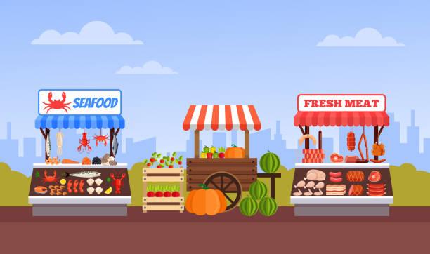 illustrazioni stock, clip art, cartoni animati e icone di tendenza di mercato dello street food frutta frutta carne e pesce. illustrazione grafica di un cartone animato piatto vettoriale - bazar mercato