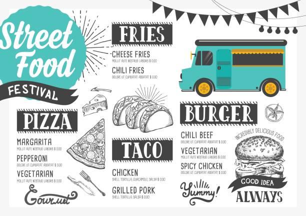illustrations, cliparts, dessins animés et icônes de menu de la cuisine de rue, modèle de conception. - cuisine espagnole