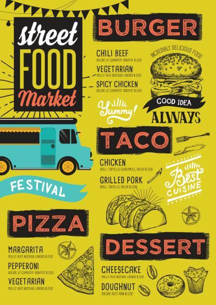 Street food menu, design template. vector art illustration