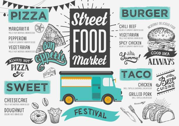 Street food menu, design template. vector art illustration