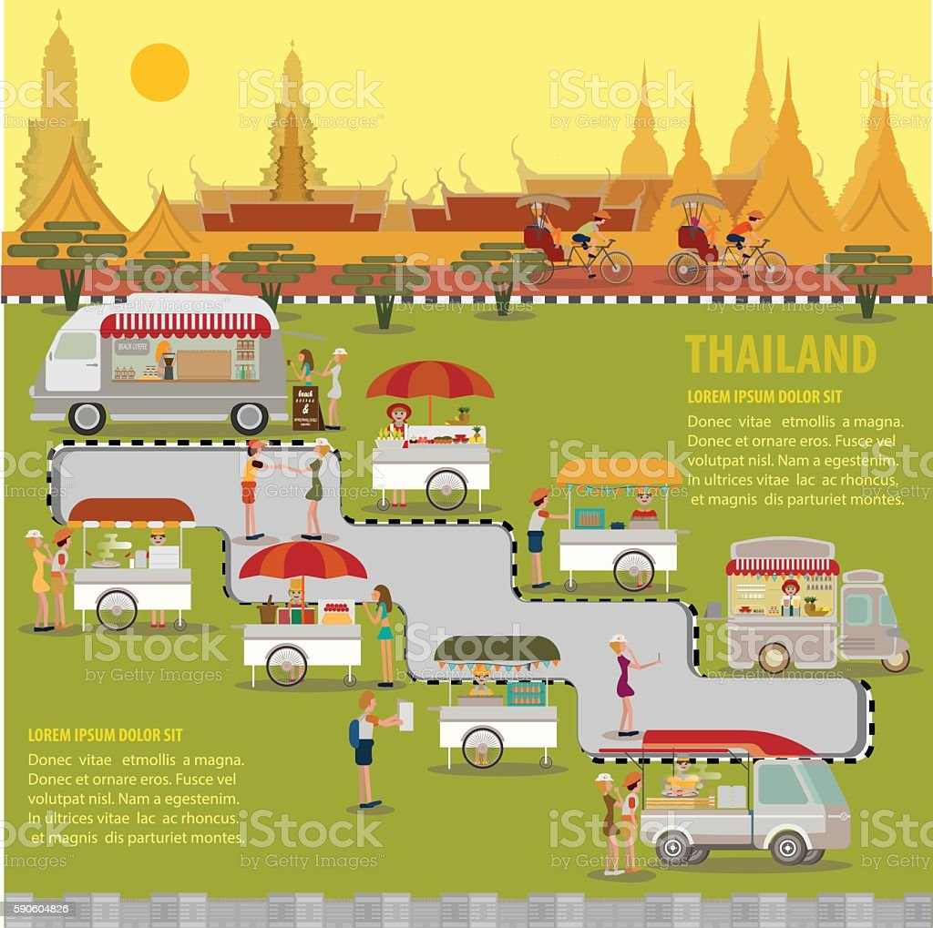 Street food of Thailand vector art illustration