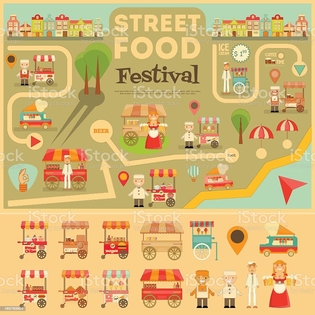 Street Food on City Map. Food carts on Infographic Card. Sellers and...