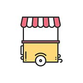 Street food retail line icon. Food trolley, truck, trade cart.