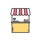 Street food retail line icons. Food kiosk, stall, cafe, shop
