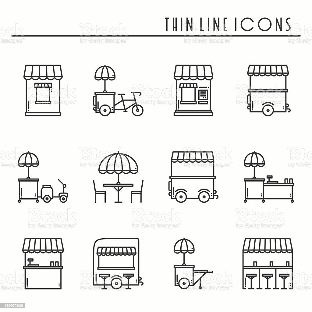 Street food retail line icons set. Food, trolley, stall, cafe.