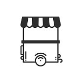 Street food retail thin line icon. Food trolley, truck, kiosk, wheel market stall, mobile cafe, shop, trade cart. Vector linear style icon. Isolated illustration. Symbols. Object. Fast food sale