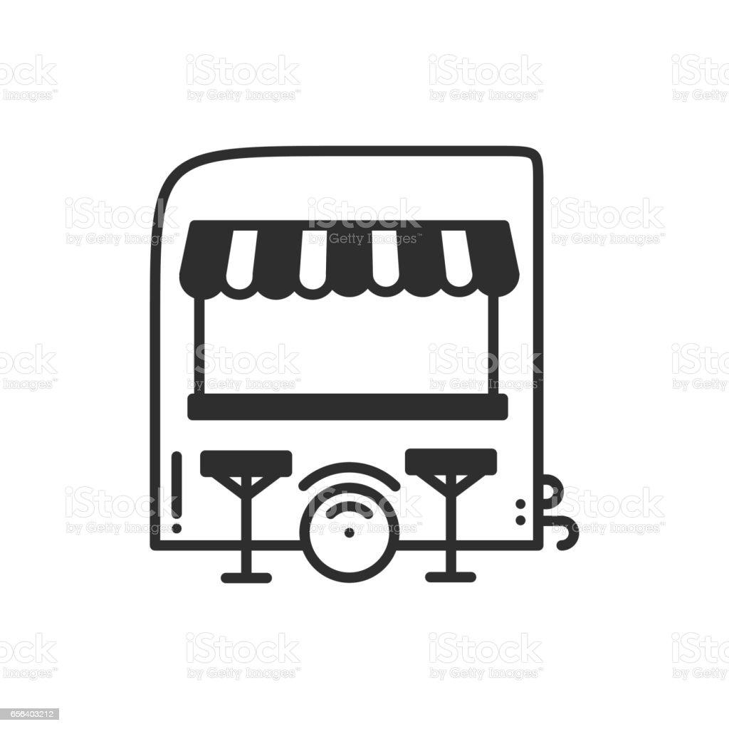 Street Food Retail Thin Line Icon Food Trolley Truck Kiosk