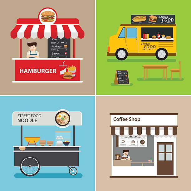illustrazioni stock, clip art, cartoni animati e icone di tendenza di il cibo di strada negozio flat design - bancarella