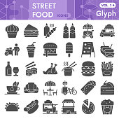 Street food solid icon set, lunch symbols collection or sketches. Fast food glyph style signs for web and app. Vector graphics isolated on white background
