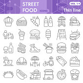 Street food thin line icon set, lunch symbols collection or sketches. Fast food linear style signs for web and app. Vector graphics isolated on white background