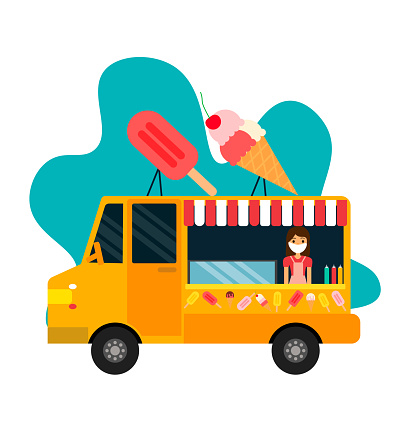 Street Food Truck concept with merchant character design - vector illustration. Street and Fast Food Ice Cream.