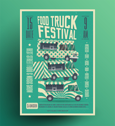 Street Food Truck Festival Poster Flyer Template. Vector Illustration.