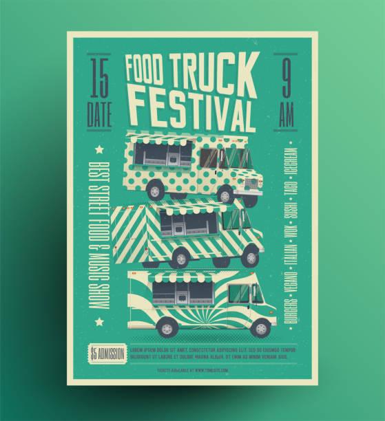 street food truck festival plakat flyer vorlage. vektor-illustration. - imbisswagen stock-grafiken, -clipart, -cartoons und -symbole