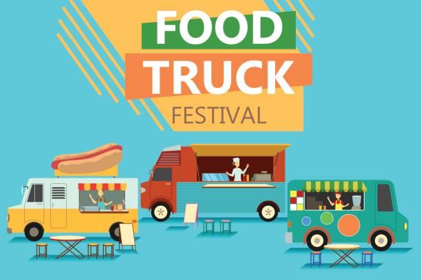 street food truck festival plakat - imbisswagen stock-grafiken, -clipart, -cartoons und -symbole