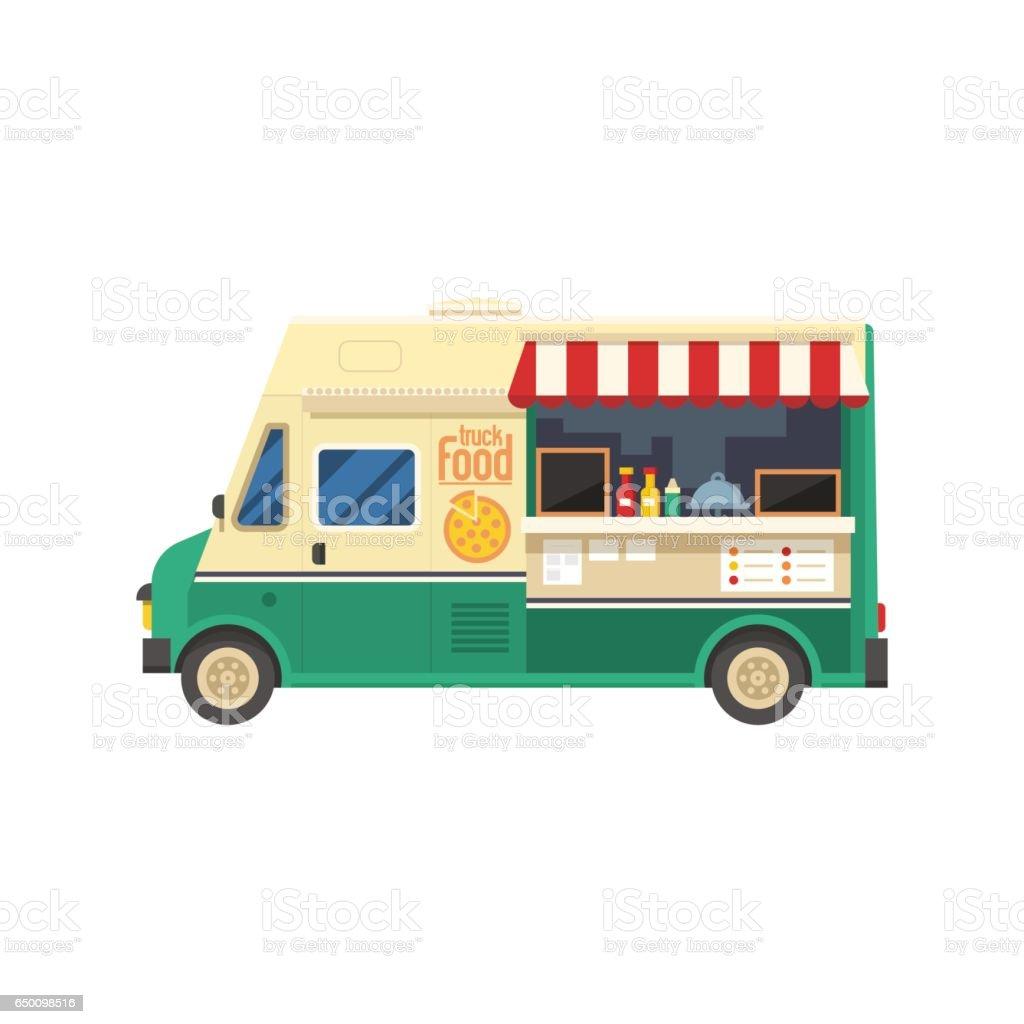 Street Food Van vector art illustration