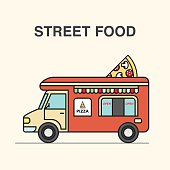 Street food van with pizza. Street food vector illustration in flat style.