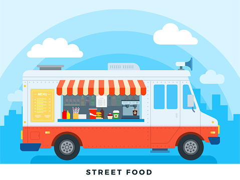 Street food vector flat illustrations. Foods truck with fast food on backdrop sky.