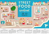 Template Poster or Ad for Street Food Weekend or Festival. Place for Text. Vector Illustrator.